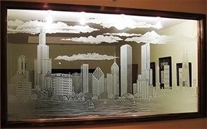 Дизайнерские зеркала с пескоструйным рисунком