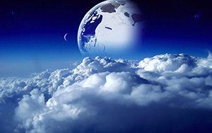 Шкафы-купе (3 двери) с небом, космосом, облаками