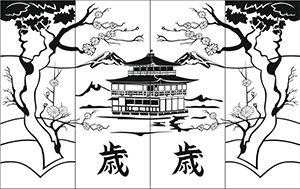 Пескоструйный рисунок - Япония и Китай